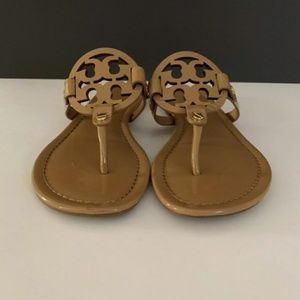 Tory Burch Miller Sandals Tan Patent Leather